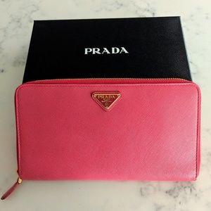 New Prada check book passport wallet
